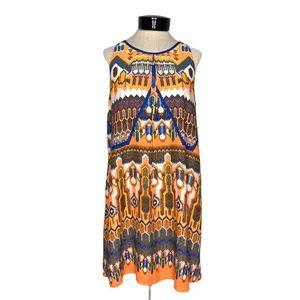 EUC Gianni Bini Sheath Dress Tunic Aztec Boho L
